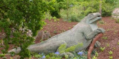 The stone sculpture of the iguanodon that Owens and Waterhouse Hawkins created looks like an overgrown iguana clinging to a log. Not at all like the upright therapod we are familiar with today.