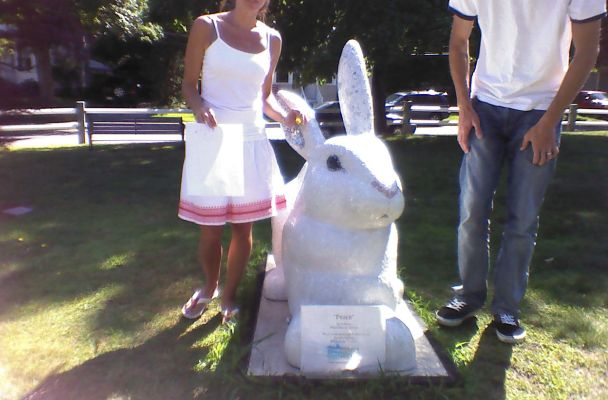 The photo of the artists shows Jill and Mike standing beside their peace rabbit. Jill is short enough that most of her made the photo, but Mike's head was completely cut off in the frame.