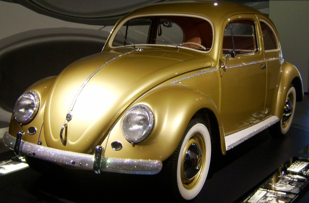 VW Beetle painted gold.