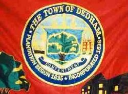 The Avery Oak actually appears twice on the town's flag, in the lower left hand corner, and again at the center of the town crest in the middle of the flag. (Photo courtesy of the Town of Dedham, via Wikipedia.)