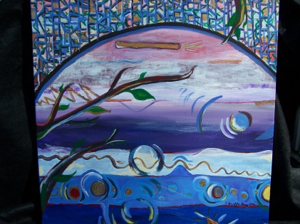 A sample of Cathy's other work. The painting is of a view through a stained glass window, with swirls of color near a tree with a few, but not many, leaves.