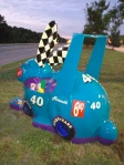 The Racecar Rabbit with spoiler intact. (Photo: The Dedham Public Art Project via Facebook)
