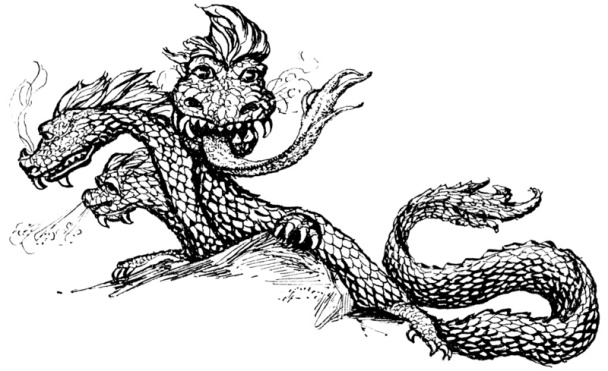 pen and ink sketch of a 3-headed dragon