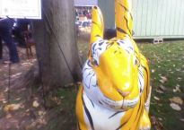 The Bengal Bunny is a giant fiberglass rabbit painted to look like a bengal tiger.
