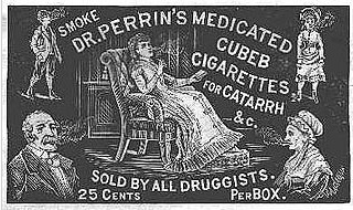 Victorian advertisement for Dr. Perrin's Cubeb Cigarettes, which were often used to treat colds, asthma, and (Image via Wikipedia)