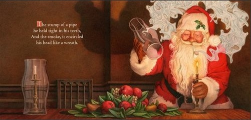 Image released by Applesauce Press from Charles Santore's 2011 version of The Night Before Christmas, showing Santa smoking his pipe.