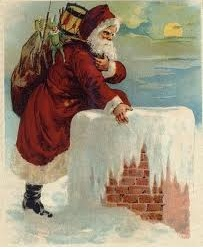 santa claus climbing into the chimney on a snowy roof