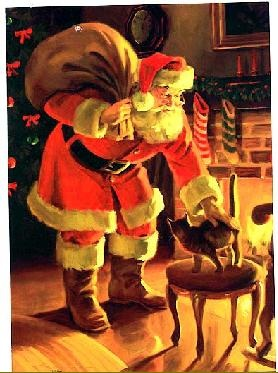 A relatively trim Santa skips the cookies in favor of petting the cat, or The Five-Year-Old's most compelling argument for why we should just go ahead and adopt a cat now. (Image: Public Domain.)