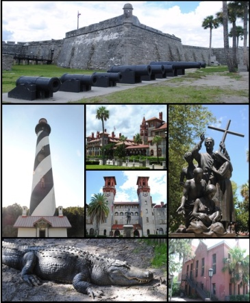 St. Augustine. Not a volcano. (Collage of images of St. Augustine by Excel23, via Wikipedia.)