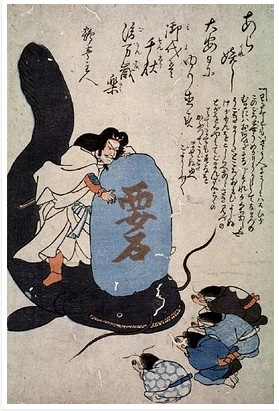 The god Kashima using a rock to force the giant catfish to keep still. (Figure from LEWIS 1985).