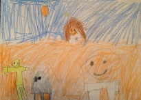 a child's drawing of luke, r2d2, and c3po on Tattooine.