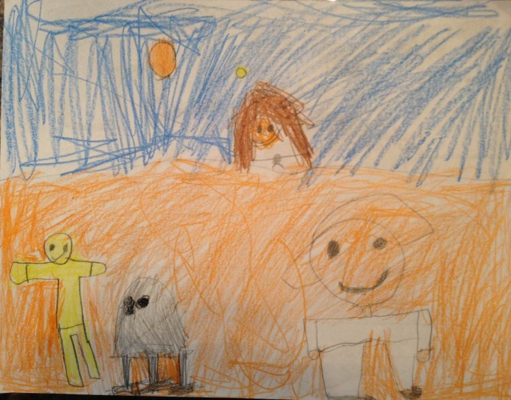 One of many pieces of Star Wars fan art created by The Five-Year-Old after watching Star Wars for the first time with her parents about three weeks ago. (Drawing: The Five-Year-Old Howell)
