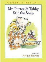 Mr. PUtter & Tabby Stir the Soup by Cynthia Rylant. The latest in a very long string of excellent books brought home by The Five-Year-Old, and the book which triggered this morning's question.