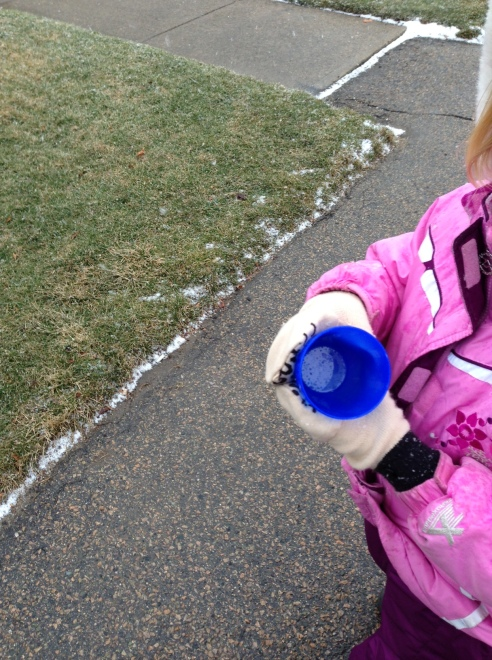 My daughter holds an empty blue cup. Behind her is a sidewalk free of snow and a yard of patchy green and yellow grass. The only snow in the picture is a thin line of it along the border between then yard and the sidewalk.