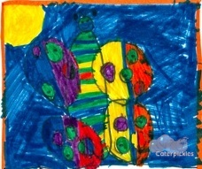 The Five-Year-Old's art. It's two cats lying on their side to make a butterfly. (Image: The Five-Year-Old)