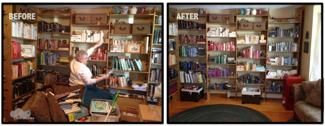 Before and after shots of our front room (now renamed, grandly, The Library). If only I could get the rest of my house to look like this. (Photos: Shala Howell)