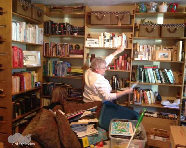 The Five-Year-Old and Gran hard at work decluttering the bookshelves. (Photo: Shala Howell)