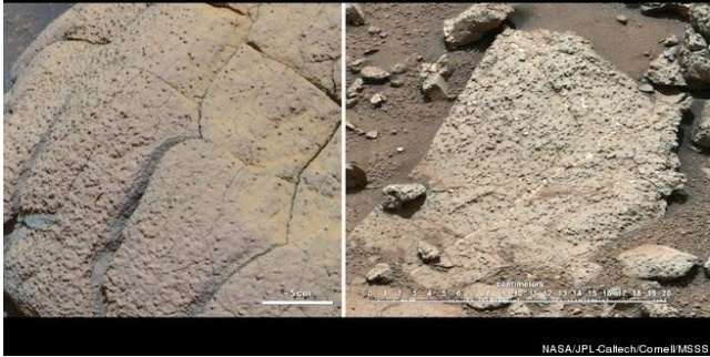 Rocks found at two different sites by the Mars Rover Opportunity and Curiosity. (Photo: NASA)