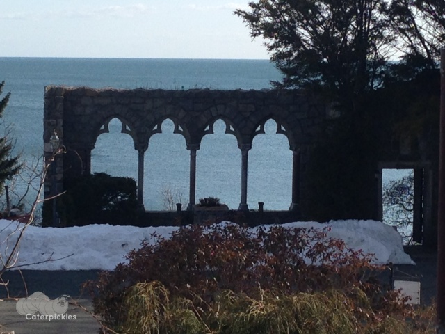 The Stone Wall overlooking the sea at Hammond Castle in Gloucester, MA. (Photo: Shala Howell)