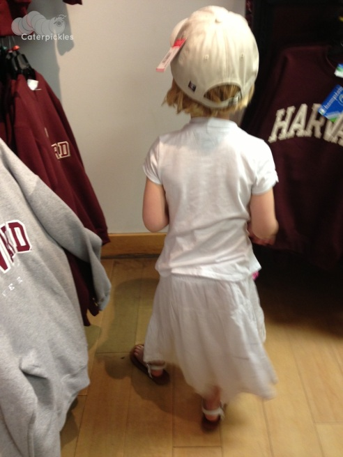 The Six-Year-Old wearing a very fancy Harvard hat. (Photo: Shala Howell)