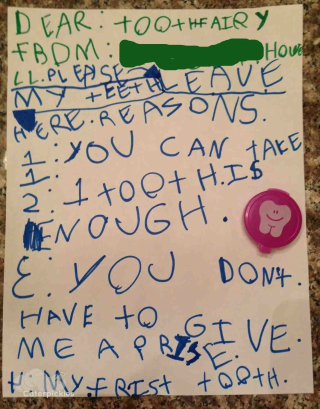 The Six-Year-Old's letter to the Tooth Fairy. (Photo: Shala Howell)