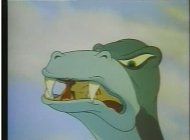 The T. Rex tries to eat Lois. I confess, I'm kind of sorry it didn't work. Lois is a bit of a twit in the original series. (Public Domain)