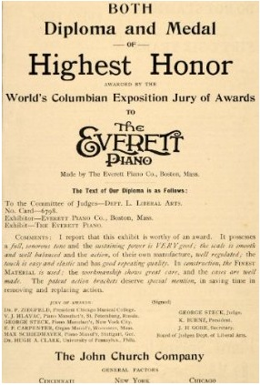 According to this 1893 ad from the John Church Company, Everett pianos won the highest honor at the Columbian Exposition in Chicago. (Image via Amazon)