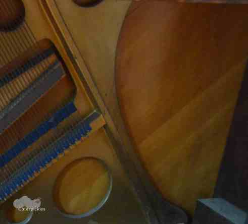 Closeup of the sound board in the lower half of my piano, showing the sap lines. (Photo: Shala Howell)
