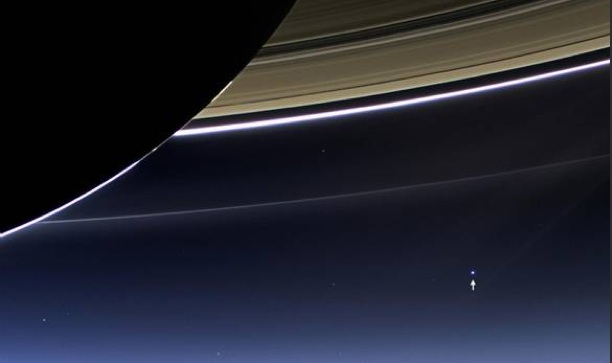 Earth (the little dot) as viewed from Saturn. (Photo: NASA/JPL-Caltech/Space Science Institute)