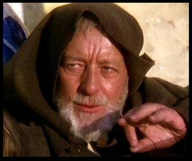 Alec Guinness as Obi-Wan Kenobi in Star Wars: Episode IV.