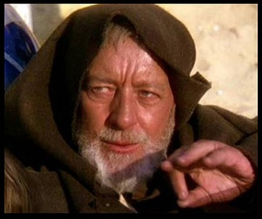 Alec Guinness as Obi-Wan Kenobi in Star Wars: Episode IV.
