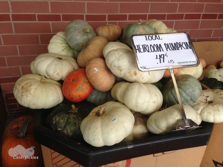 Heirloom pumpkin display at our local grocery store. (Photo: Shala Howell)