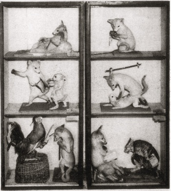 Herman Ploucquet's Reynard the Fox tableaux, exhibited at the Crystal Palace as part of the Great Exhibition of 1851. Walter Potter visited the exhibition as a sixteen-year-old. (Photo via Ravishing Beasts)