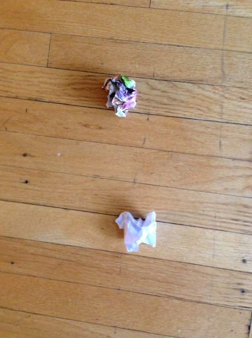 """The Six-Year-Old used to call these wadded up catalog pages """"Kitty Asteroids."""" Now she calls them tribbles. And takes great joy in spreading them all over my house. (Photo: Shala Howell)"""