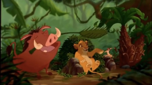 "Timon and Pumbaa teach Simba to live in the present (""hakuna matata"") in The Lion King."