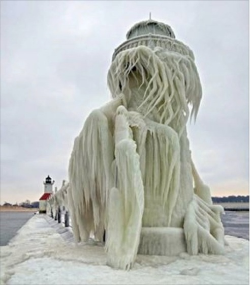 Michigan City lighthouse, completely encased in ice. (Photo: Patricia Lynx via Chicago Weather Center Blog, 2014)