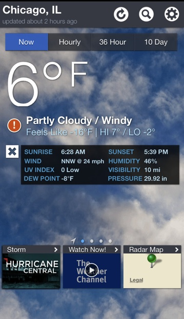 Our forecast this morning. (Source: The Weather Channel app on my iPhone)