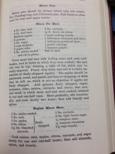 For the curious, the mince meat recipes referenced in this post. (Source: 1896 Fannie Farmer)