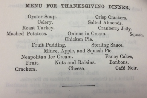 Traditional Thanksgiving Menu from the 1896 Fannie Farmer cookbook.