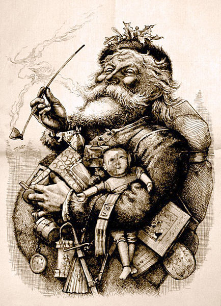 This black and white drawing shows a rotund gentleman with a long stemmed pipe and an armful of toys.