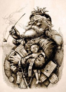 "Thomas Nast's 1881 drawing of ""Merry Old Santa Claus"". (First published in the January 1, 1881 Harper's Weekly, now more readily available via Wikipedia)"