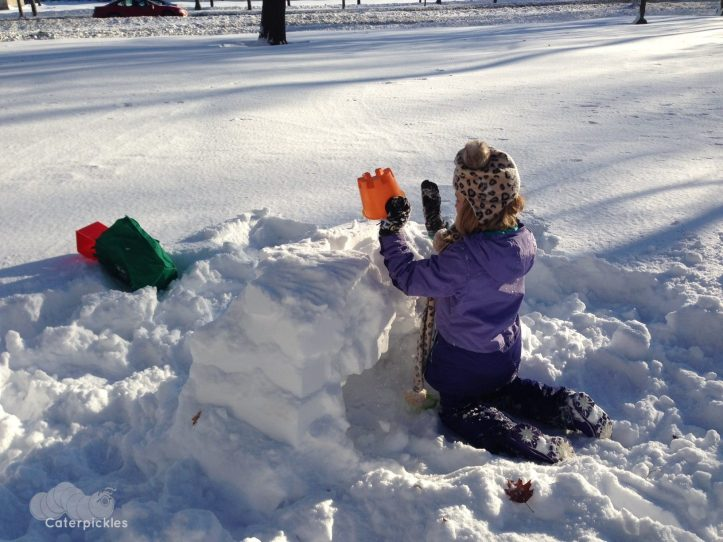 The Seven-Year-Old, building a frost dragon nest in a secret location in Chicago. Hey -- don't want y'all stealing the eggs! (Photo: Shala Howell)