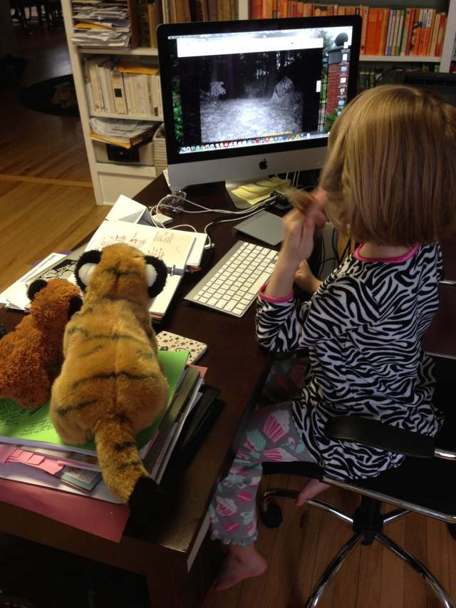 The Seven-Year-Old sharing the good news with her tiger cubs. (Photo: Shala Howell)
