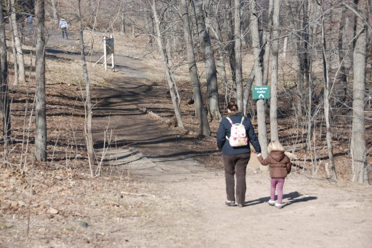 Mommyo and the then Three-Year-Old off to hunt for dinosaur footprints at the Dinosaur Footprint park in Holyoke, MA. (Photo: Michael Howell)