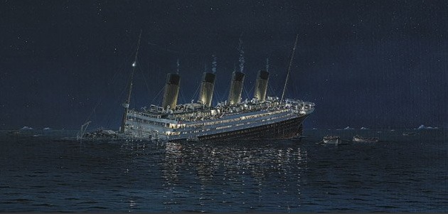 Marine artist Robert Lloyd's depiction of the sinking of the Titanic on April 12, 1912. (Courtesy of Frank)