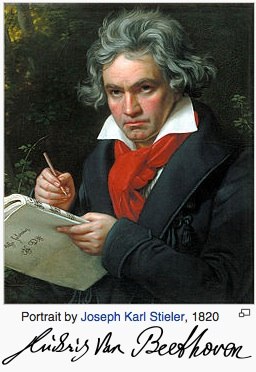 Portrait of Beethoven with his signature underneath it