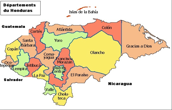 (Map of Honduras via the Discover Central America blog)