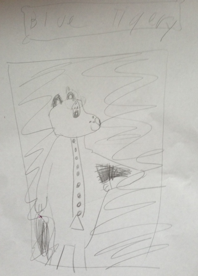 Study for Blue Tigery, by the Eight-Year-Old Howell. Inspired by Gainsborough's The Blue Boy.