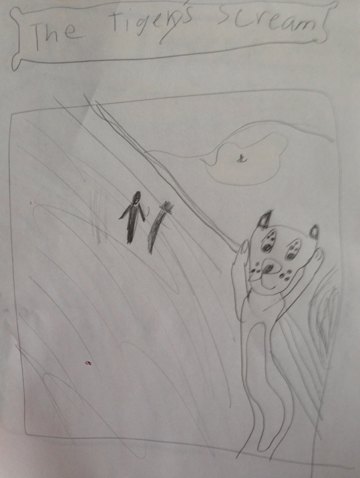 Study for The Tigery's Scream, by The Eight-Year-Old Howell. Inspired by Edvard Munch's The Scream.