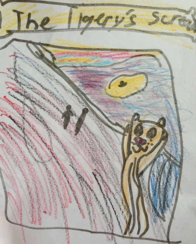 Final version of The Eight-Year-Old Howell's The Tigery's Scream, inspired by Munch's The Scream.